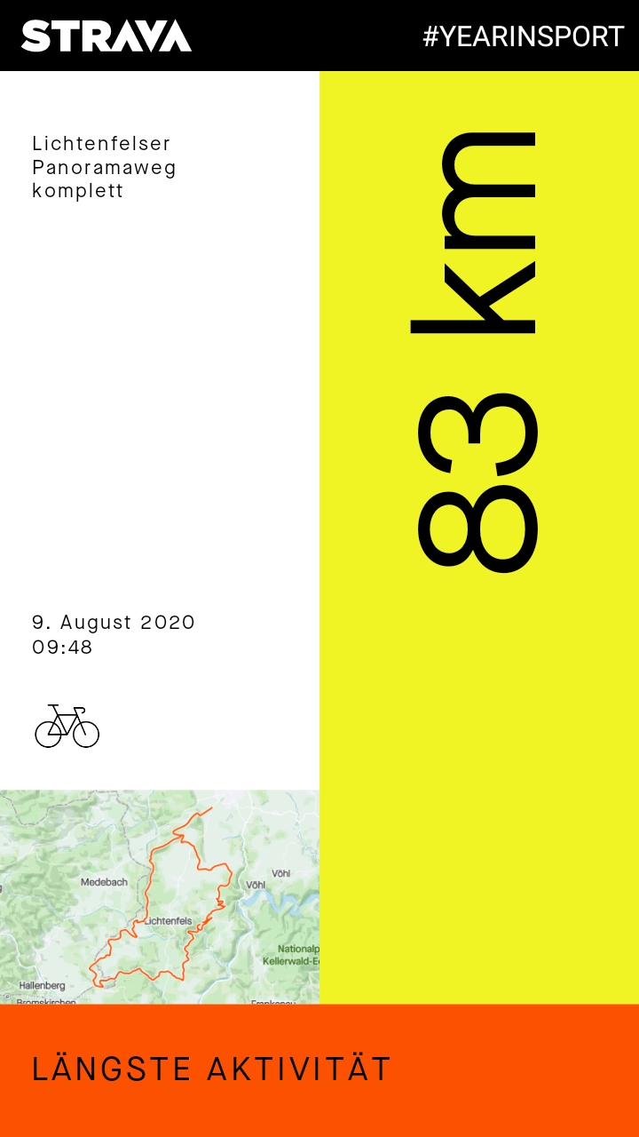 STRAVA #YEARINSPORT 2020: Längste Aktivität: Lichtenfelser Panoramaweg komplett (MTB), 83 km, 09. August