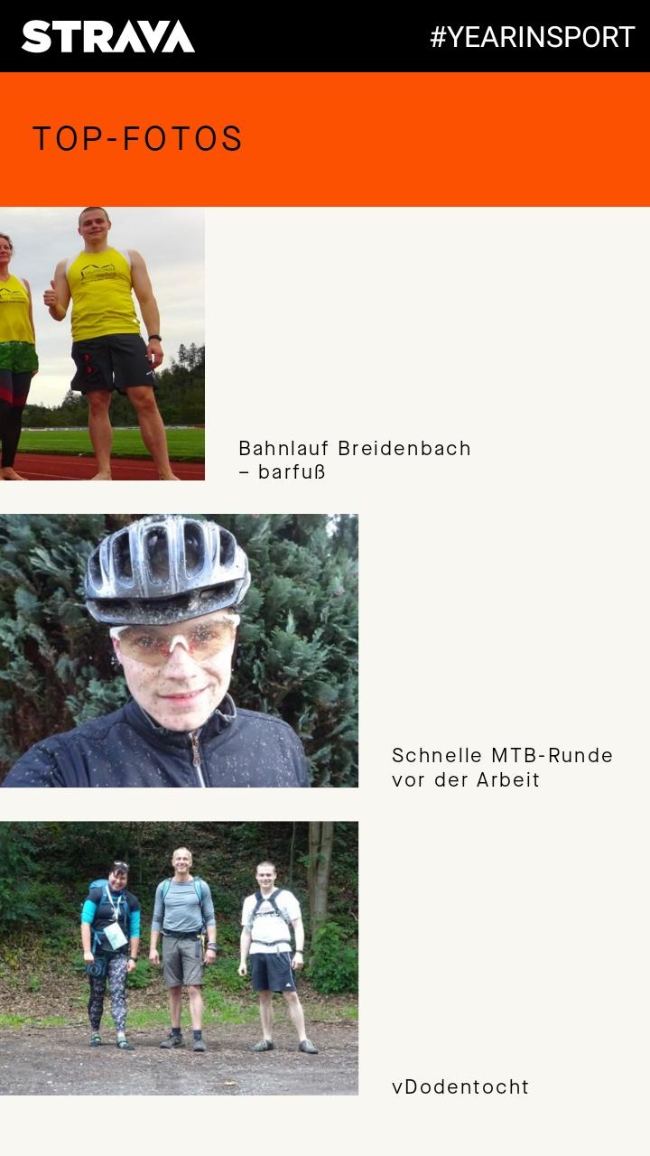 STRAVA #YEARINSPORT 2020: Top Fotos: vDodentocht, Bahnlauf Breidenbach barfuß, Schnelle MTB-Runde vor der Arbeit
