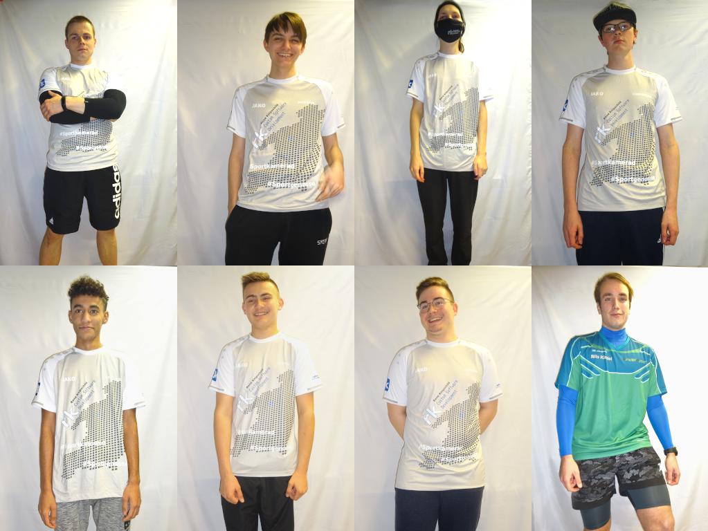 Das Team in seinen neuen Sportshirts